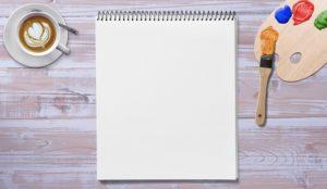 絵の具と紙。英会話はイメージで。